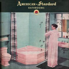 A pink toilet, pink sink, and pink corner tub. Ugly!! The face on the girl is pretty though. American Standard catalog picture from the 50s I think.