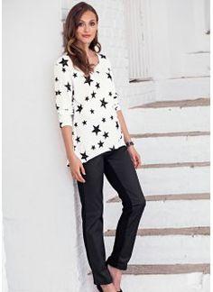 Blusa mullet estampada, branco / preto estampado