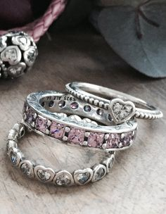 Stack up on love with a couple of rings #PANDORAring #heart #pink #beautiful