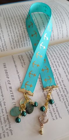 Sea foam Anchor Ribbon Bookmark by IzzieBellCreations on Etsy