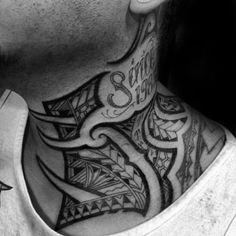 Hawaiian Negative Space Tribal Neck Mens Tattoo Designs