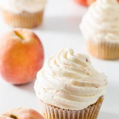 This amazing peach whipped cream is made with fresh peaches and heavy whipped cream! The peach flavor really comes through. Its a refreshing topping for any dessert or even when eaten all on its own! Keto Whipped Cream, Whipped Cream Cheese Frosting, Strawberry Whipped Cream, Sweetened Whipped Cream, Homemade Whipped Cream, Cream Pie, Peach Cobbler Cupcakes, Peach Muffins, Ice Cream Cupcakes