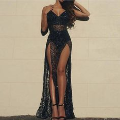 Turn heads in this stunning peek-a-boo one piece lace maxi dress. Featuring a form-fitting bodysuit with a plunging V neckline and nude underlay panel, this one