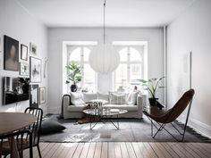 Scandinavian-style cuisine: northern minimalism in design Interior Design Tips, Interior Design Living Room, Interior Decorating, Scandinavian Apartment, Scandinavian Style, Ikea Sofa, Rustic Chair, White Houses, Grey Walls
