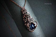 Copper pendant with blue quartz wire wrapped copper pendant