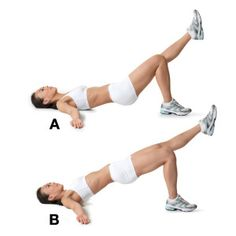 Advanced Move: Hip-Thigh Raise --Lie on your back with your right knee bent and your left leg extended. Rest your arms on the floor, palms up, at shoulder level with your hips about 2 inches off the floor (A). Raise your hips to form a straight line from your shoulders to your left foot (B). Hold for 2 counts, then return to start. That's 1 rep. Do 10 to 15 reps on each side. To make it harder, cross your arms over your chest.