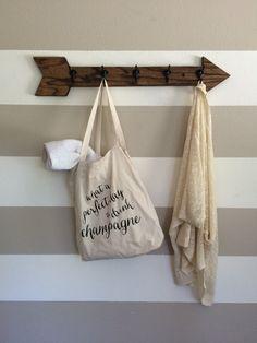 5 hook wooden arrow coat rack // towel rack by kayandedna on Etsy
