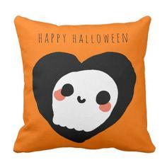 Happy Halloween Cute Ghost Custom Orange Throw Pillow - halloween decor diy cyo personalize unique party