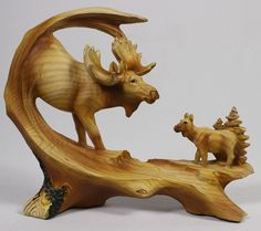 BULL MOOSE CALF FAUX WOOD CARVING Figure Statue Sculpture NEW Wildlife Deer Elk #WoodCarving