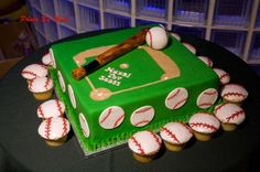 A baseball diamond cake and cupcakes from Strauss bakery for this Bar Mitzvah celebration.
