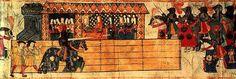 Catherine of Aragon watching Henry VIII jousting.