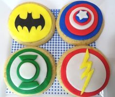 Big Bang Theory Party, superhero sugar cookies...Cindy we may have to do this for the finale this year!!!!