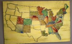 United States String Art - I saw a bunch of individual states done this way, but never all of the states. We're keeping track of the states we've visited since our marriage and thought this was a cool way to show it. x Willium Fair Project String Art Cute Crafts, Crafts To Do, Arts And Crafts, Diy Crafts, Nail String Art, String Crafts, Do It Yourself Quotes, String Art Patterns, Creation Deco