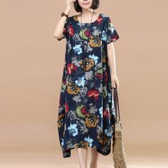 Retro Floral Printing Short Sleeve Pocket Loose Women Summer Blue And Yellow Dress Blue And Yellow Dress, Oversized Dress, Plus Size Pants, Retro Floral, Loose Sweater, Cotton Linen, Cloths, Floral Prints, Cold Shoulder Dress