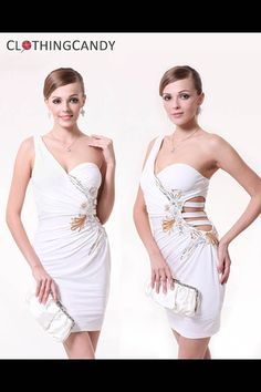 One Shoulder Sexy Front Waist Cocktail Dress White PRICE  $65.00   #dress #fashion #women