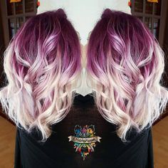 Plum purple hair color base with billowy white blonde hair by insta. - Purple Lavender Lilac Hair Nails and Makeup - Hair Color Plum Purple Hair, Lilac Hair, Pastel Hair, Purple Ombre Hair Short, Deep Burgundy Hair Color, Light Purple Hair, Neon Hair, Violet Hair, Bright Hair