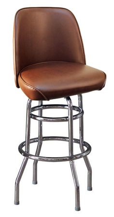Brown Bucket Seat Bar Stool On Double Silver Base | Restaurant Furniture
