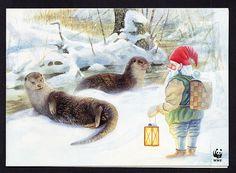 Stefan Hansson: Otters en elf - wenskaart WWF - Huuto.net