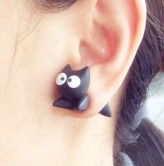 Cute Black Cat Two Part Earrings