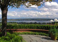 Blue Stone Terrace overlooking Lake Washington and the Cascade Mountains. Seattle, WA  View Ridge home