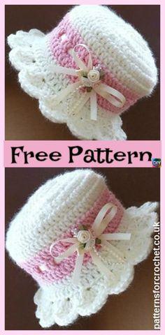 diy4ever- Crochet Brimmed Baby Hat - Free Pattern Háčkování Zdarma 8c4ec883b9