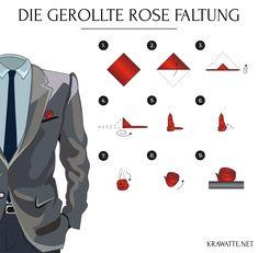 Die gerollte Rose Faltung   Anleitung Einstecktuch falten
