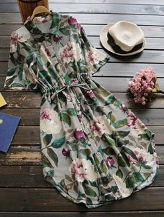 SHARE & Get it FREE | Button Up Floral Drawstring Waist Linen Dress - GreenFor Fashion Lovers only:80,000+ Items • New Arrivals Daily Join Zaful: Get YOUR $50 NOW!