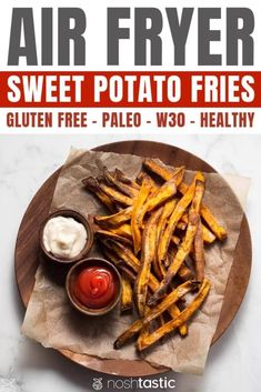 Airfryer Sweet Potato Fries, quick, easy and healthy alternative to regular fries, cooked with minimal oil and suitable for gluten free, Paleo and W30 diets. www.noshtastic.com #airfryer #airfried #sweetpotatoes #fries