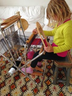CENTERING WITH FIBER: Saori weaving on the Piccolo loom with kids, washing a Teeswater fleece , Happy Flag Day