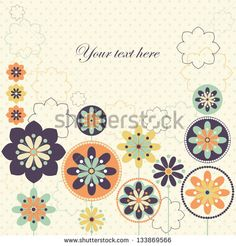Decorative card design with fantastic spring flowers in retro colors. Vector illustration.