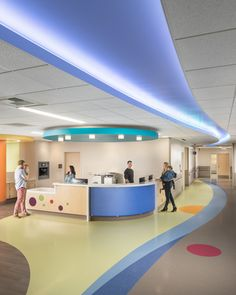 HCD Mag - UC Davis Children's Surgery Center - HGA implemented ceiling lighting that allows the child to change the color as they are being walked to the operating room.