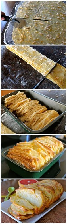 Grapefruit Pull-Apart-Bread Ingredients For the bread: 2 3/4 cups all purpose flour 1/4 cup sugar 1 envelope (or 2 1/4 teaspoons) active dry yeast 1/2 teaspoon salt 1/3 cup milk 1/4 cup butter 2 eg...