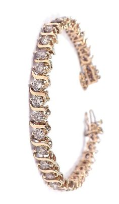 Lot: 14KT Yellow Gold 8.25ct Diamond Tennis Bracelet A3768, Lot Number: 0571, Starting Bid: $1, Auctioneer: Seized Assets Auctioneers, Auction: SAA-HUGE 3 DAY $1 START AUCTION! DAY 2 OF 3!, Date: January 20th, 2013 EET