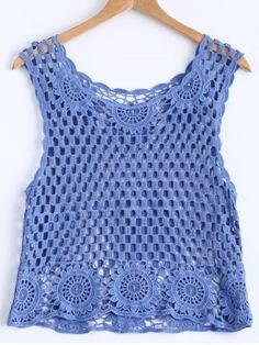 Stylish Scoop Neck Openwork Crochet Tank Top For Women