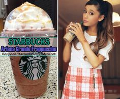 starbucks ariana grande frappuccino How to order:  Start with a Vanilla Bean Frappuccino w/ Raspberry Syrup (aka theCotton Candy Frappuccino) Add extra mocha syrup Add extra mocha chips BlendTop with extra whipped cream Finish with a generous caramel drizzle