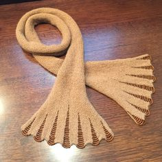 """BEAUTIFUL: Beaded Scarf-Hand Made NWOT. 53"""" long, 6"""" wide, (flares to 8"""" at beaded ends). Brown/Tan wool with copper colored beads. Hand Made Accessories Scarves & Wraps"""