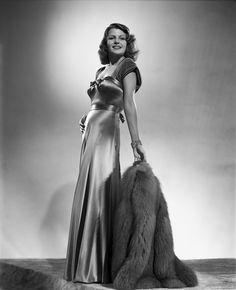 Rita Hayworth Posed in a Shiny Gown Premium Art Print