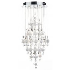 A large long drop modern chandelier style light with 21 halogen lights. This much admired ceiling light has hanging white glass orbs encircled by clear glass rings with crystal drops which all hang on wires from a circular chrome ceiling plate. Spectacular!