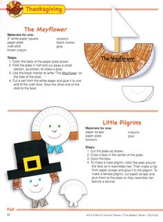 """Simple and cute Mayflower and Pilgrim crafts made from paper plates. Just a few of the many creative ideas in """"Arts & Crafts for Favorite Themes"""" - store. Thanksgiving Preschool, Fall Preschool, Preschool Themes, Preschool Crafts, Thanksgiving Ideas, November Crafts, Holiday Activities, Arts And Crafts, Plate Crafts"""