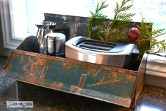 LOVE LOVE LOVE this!!! Toolbox storage in the kitchen / A junky Christmas kitchen / salvaged finds used to deck out this kitchen for Christmas - via http://www.funky...