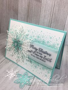 Megumi's Stampin Retreat: Snow Is Glistening Christmas Card - Stamparatus Hinge Technique Diy Christmas Snowflakes, Snowflake Cards, Stampin Up Christmas, Handmade Christmas, Holiday Cards, Christmas Cards, Snowman Cards, Winter Cards, Scrapbook Cards