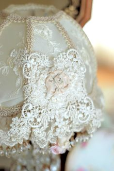 shabby chic lampshade...For beautiful wedding dresses by emmahunt.co.uk