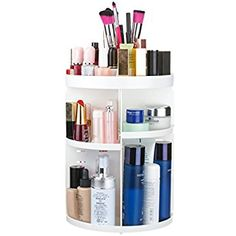 TAPCET Cosmetic Organiser 360 Degree Rotating Adjustable Multi-Function Makeup Organiser Cosmetic Storage Holder, Jewelry and Cosmetic Display Stand, White, Great Gift for Women (Newest Version), Gift Box Packaging