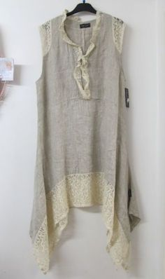love the linen/lace Sarah Santos Lagenlook Beige Linen Lace Tunic Summer Dress Layered Oversized NEW Sewing Clothes, Diy Clothes, Clothes For Women, Lace Tunic, Lace Dress, Trendy Dresses, Summer Dresses, Look Fashion, Womens Fashion