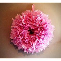 DIY pink tissue paper wreath.  Nursery decor / baby shower decor.