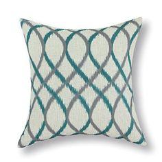 Euphoria CaliTime Cushion Cover Throw Pillow Shell Geometric Figure 18 X 18 Inches, Two-tone Ikat Waves, Teal/Grey