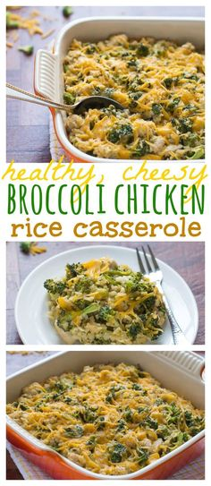 Healthy, Cheesy Broccoli Chicken Rice Casserole. A lighter version of a family favorite that makes healthy eating easy and delicious!