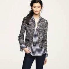 #J.Crew Black/White Blazer #boucle #tweed #black #white #jacket #size0 NEW with tags !!!