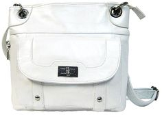Genuine Leather Concealed Carry Handbag Gun Purse / CCW Messenger Style - White  $89.99 + Free Shipping! wantedwardrobe.com wantedwardrobe.net #CCW #handbags #fashion