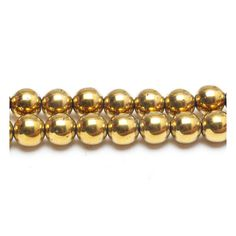 A beautiful 16 inch strand of gold-plated Hematite beads Each bead comes ready-drilled with a 1 mm hole They are simply perfect for many stringing